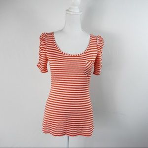 T270 L8ter Red Pink Striped Ruched Sleeve